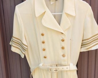 Vintage 1980s Creme Gold Nautical Ladies STudio One Petite jumpsuit size Small
