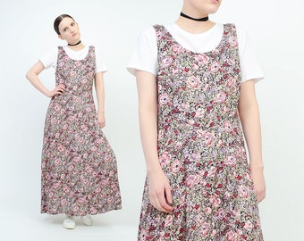 Vintage 90s Floral Maxi Dress - Boho Grunge Sleeveless Sundress - Corset Lace Up Back Romantic Revival Dress - Medium M