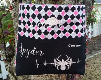 Can-am Spyder large cross body bag in pink and black quatrefoil  with silver glitter