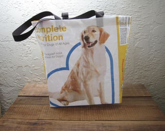 Recycled Upcycled Reusable Medium Dog Food Market Tote Bag Purse