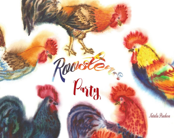 Roosters Party. Christmas, Watercolor, clip art, clipart watercolor, bird, feather, hand drawn, new year, chicken, fire, new year,