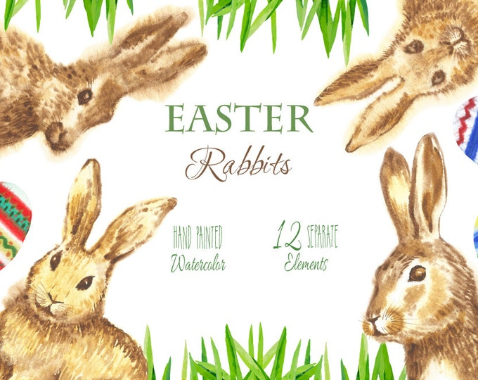 Digital Clipart with Easter Rabbits, watercolor clipart spring, painting, Scrapbooking, clipart, eggs, grass, animal, egg,