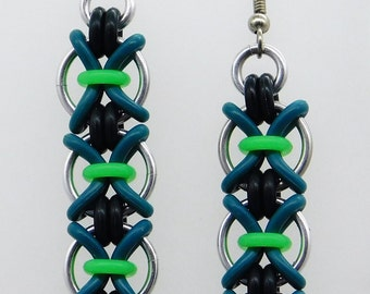 Medium Chromosome Chain, green and black, rubber earring, X earring, long dangle earring, large earring, chainmaille earring