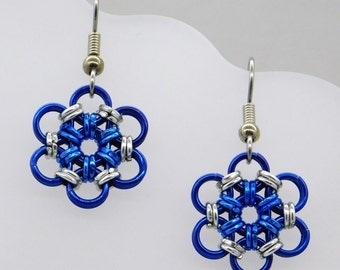 Blue Flower Earrings, blue flower, snowflake earrings, ice earrings, frozen earrings, frozen jewelry, blue and silver, six pointed star