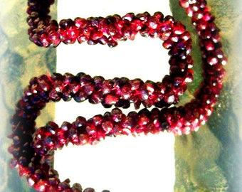 LONG GARNET NECKLACE Beautiful garnet necklace, garnet necklace, long beaded necklace, stone necklace, garnet