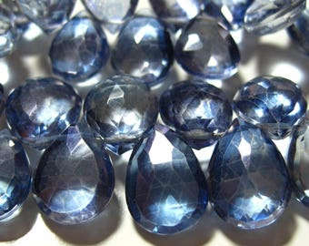 10 Beads Set - Beautiful AAA Iolite Blue Mystic QUARTZ Faceted Pear Briolettes