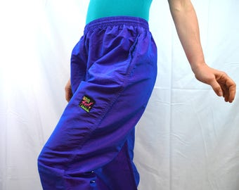 Vintage 80s Interplanetary Surf Style Iridescent Purple Harem Pants