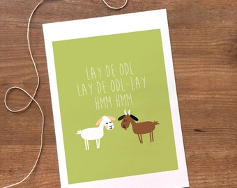Sound of music- goats -  8x10 digital printable art print, wall art, modern illustration