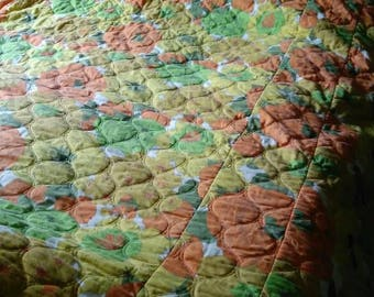 1960s twin/full size flower power bedspread orange and yellow floral