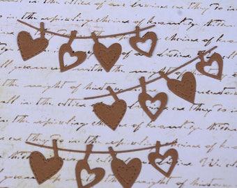 Heart Banner Clothesline Chipboard Die Cut Set