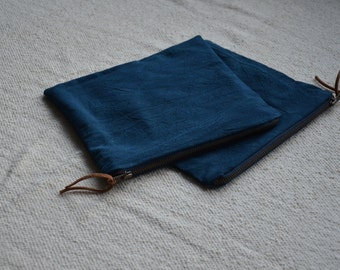 Cotton canvas pouch indigo dyed cosmetics purse natural plant botanical herbal gaia wellness zip bag mens womens gift idea wallet earthy eco