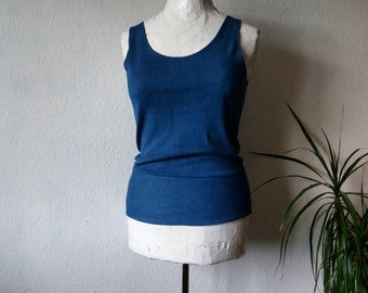 Organic yoga top eco clothing tank indigo dyed boho hemp shirt earthy hippy psy bohemian minimalist womens slow fashion clothes blue stretch