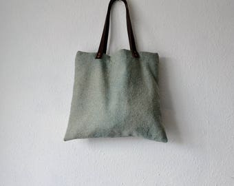 Tote bag blue green naturally dyed rustic minimalist herb plant ethical pink leather straps handbag shoulder boho bohemian earthy yoga purse