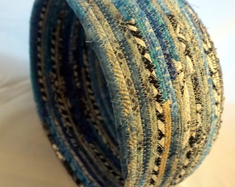 Fabric Basket with Blues, Black and White