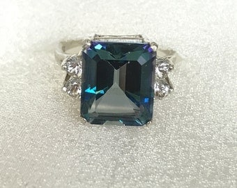 Accented Blue Mystic topaz ring