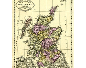 2 maps Scotland  instant printable download for wall art, decoupage, travel art. Published by Tunison 1881 pastel colors and black and white