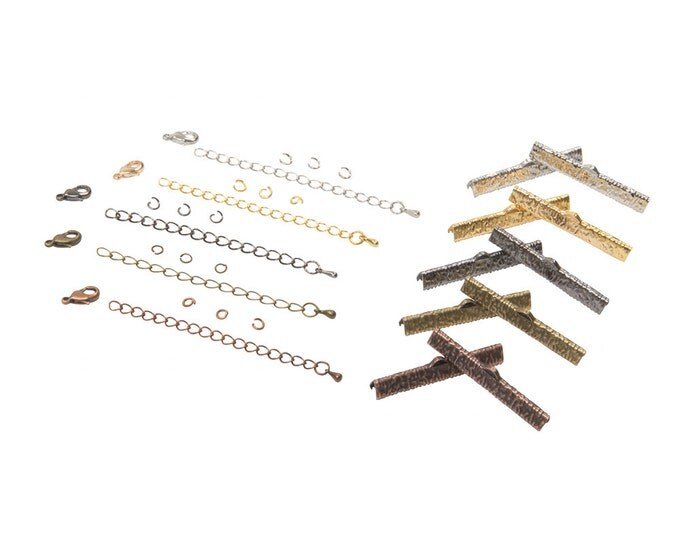 40mm  ( 1  9/16 inch )  Ribbon Choker or Ribbon Bracelet Findings Kit - Bronze, Gold, Silver, Gunmetal, Copper - Artisan & Dots Series
