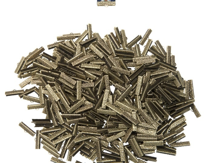 500pcs.  25mm (1 inch)  Antique Bronze Ribbon Clamp End Crimps - Artisan Series