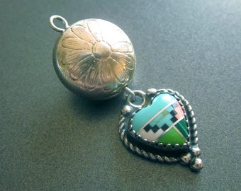 Vintage Sterling Silver Heart Pendant Gemstone Inlays