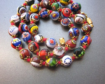 Vintage Millefiori Beaded Necklace Murano Glass Beads