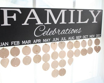 Family Birthday Anniversary Board Sign Celebrations with wood discs Mother's Day gift