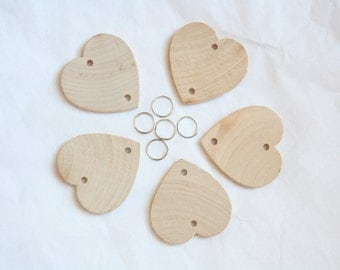 Extra 5 Wood Hearts and 5 Jump Rings