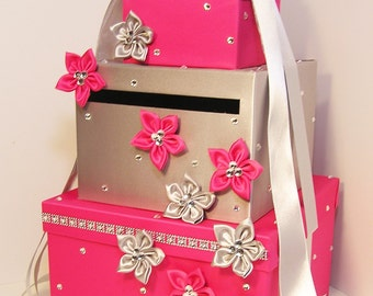 Wedding Card Box Fuchsia /shocking pink and Silver Gift Card Box Money Box Holder--Customize your color