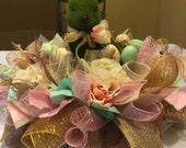 Ready to Ship Green Moss Easter Bunny Centerpiece , Deco Mesh Easter Centerpiece , Easter Arrangement