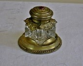 Ornate Brass and Glass Ladies Victorian Inkwell with Red Jewel, Small Decorative Antique Gold Desk Accessory, Ink Well