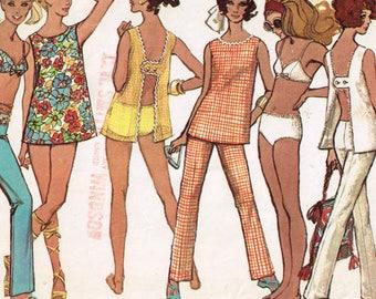 60s Beachwear Pattern Simplicity 8153 Bust 32 Fun Hippy Bikini Swimsuit Hip Hugger Pants Coverup Top Vintage 1969 Sewing Pattern