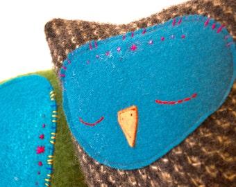 Sleepy Owl Stuffed Toy in charcoal grey wool knit