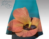 Tropical Hibiscus on Turquoise - flared skirt - Digitally Printed