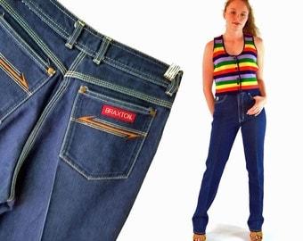 70s High Waist Jeans Womens 70s Jeans BRAXTON High Waisted Jeans Slim Fit 1970s Dark Wash Vintage Stretch Denim Mom Jeans Jeans Waist 27