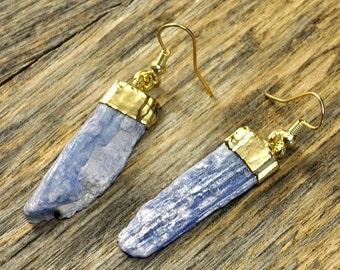 Holiday SALE - Kyanite Earrings, Kyanite Gold Earrings, Kyanite Slice Earrings, Kyanite Pendant Earrings, Kyanite Stone Earrings, 14k Gol...