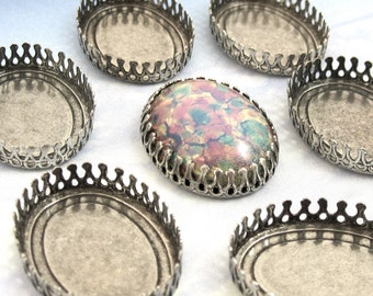 Silver Crown Settings 25x18 mm 4 Antique Silver Cabochon Oval Settings Brass Stamping