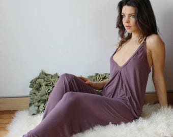 bamboo pj set with wide leg pants and draped wrap camisole - ICON bamboo sleepwear and lingerie range - made to order