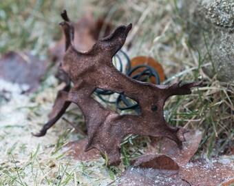 Brown Oak Leaf Split Leather Mask
