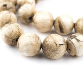 36 Vintage Spherical Naga Conch Shell Beads: Ocean Nepal Brown Round Rustic Ethnic Handmade Strung Raffia Boho Ball (SHL-RND-BRN-198)