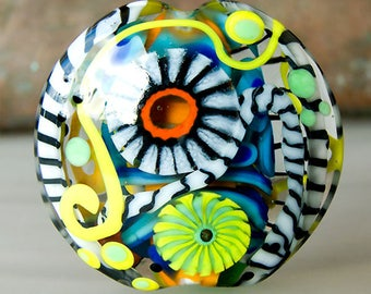 Hiding Zebra in Spring  - 3 dimensional 2 side lampwork bead - Modern Glass Art by Michou P. Anderson (Brand/ Label Sonic & Yoko)