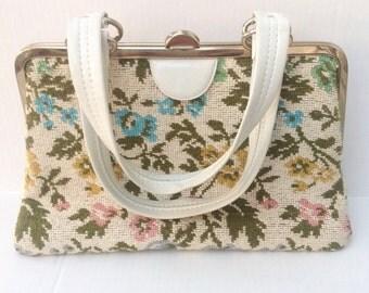 Vintage floral tapestry embroidery needlework handbag purse.  Vintage bag.