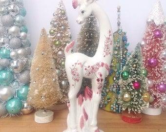 Vintage Pink and white long leg deer. Made in Japan. Vintage deer. Home decor. Mantel decoration.