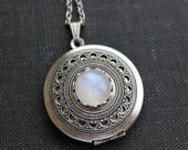 VACATION SALE- Rainbow Moonstone Locket Necklace
