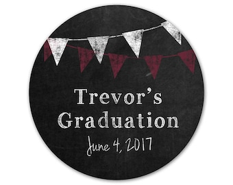 Personalized Graduation Stickers - Chalkboard Stickers - Custom Favor Labels - Banners - Pennants - Favor Stickers - Graduation Party Labels
