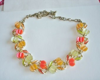 Red Orange Yellow Lucite Necklace Gold Tone