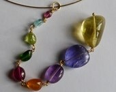 18 ct gold  pendant/necklace with precious stones, IMPORTANT, French vat is included, 20% off for US and canadian buyers