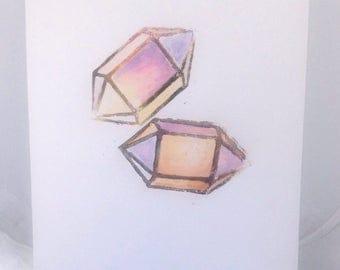 Crystal Lino Print Pink Crystal Geometric Gemstone Art linoprint Unframed A4 Linocut Print Unicorn Crystal Watercolor Art Original Sunset