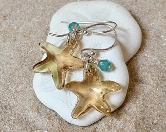 Sterling Swarovski Starfish Earrings
