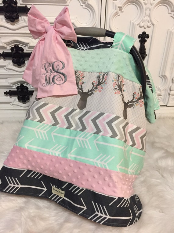 Car Seat Cover , OOAK  , comes with bow and name , car seat cover , car seat canopy , carseat cover , carseat canopy