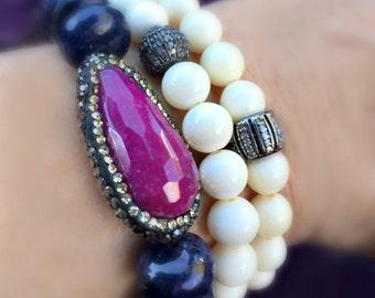 Ruby Quartz Bracelet, Blue Agate Bracelet, Quartz Hematite Bracelet, Blue Beaded Bracelet, Pink Crystal Bracelet, Pave Bracelet