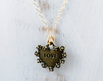 Love Amour Necklace, Brass and Gold Filled Heart Necklace, Minimal, Gift for Her
